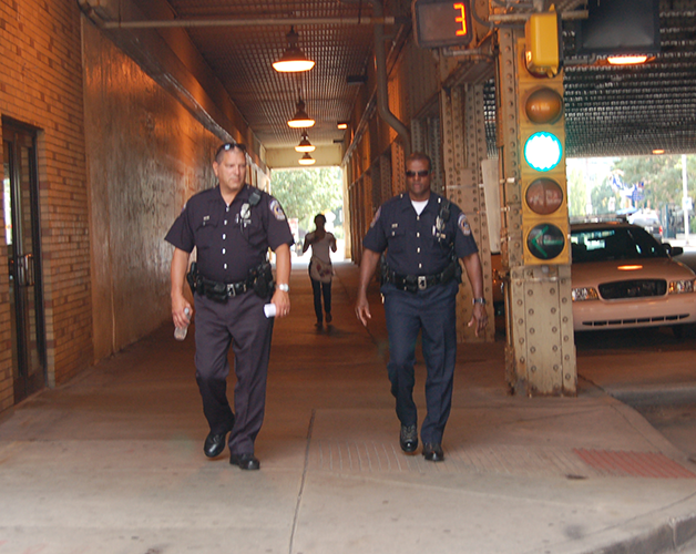 Officers Tom Goodwin & Joe Simmons, part of Downtown Indy's Bike & Walking patrol, help keep Downtown safe.