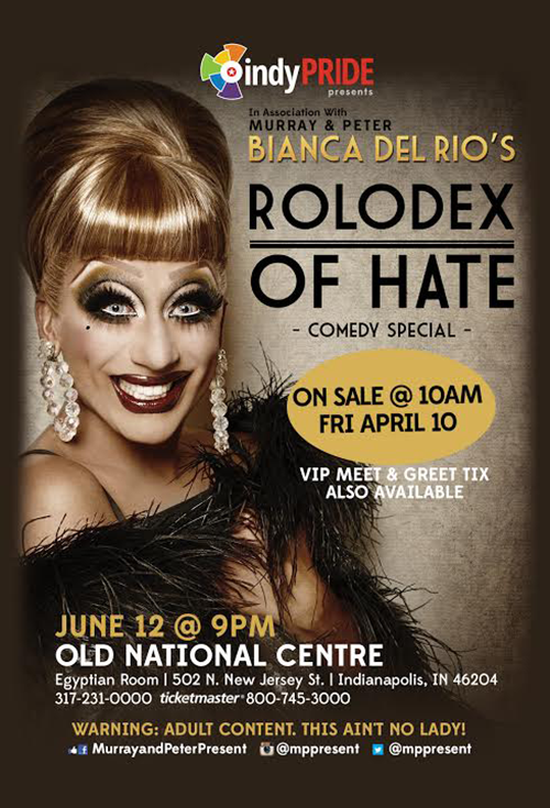 Fans of RuPaul's Drag Race will want to go to the Old National Centre to see Bianca Del Rio's comedy show.