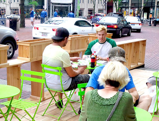 Enjoy lunch on the parklets installed on Monument Circle as part of SPARK until Oct. 16.