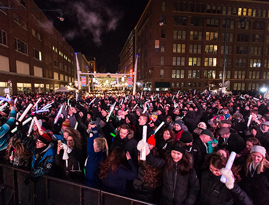 Downtown Indy's New Year's Eve Celebration on Georgia Street.