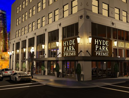 A rendering of Hyde Park Steak House.