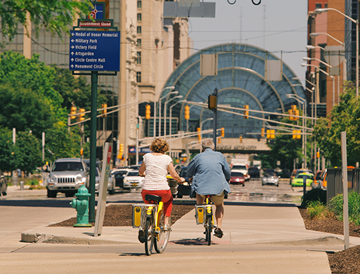 Riding your bike and utilizing the Pacers Bikeshare bikes is a great alternative to driving Downtown.