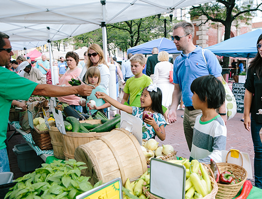 The Original Farmers' Market is held every Wednesday, May through October, on Market Street in front of City Market and is one of central Indiana's longest-running and largest farmers' markets.