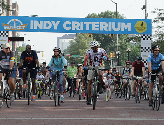 The free kick off ride is a 1-mile parade lap around the actual Indy Crit course followed by a 14 mile, 42 mile or 52 mile ride.