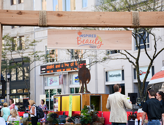 INspired Beauty is Downtown Indy, Inc's annual fundraiser with live music, food and planter competitions on Monument Circle.